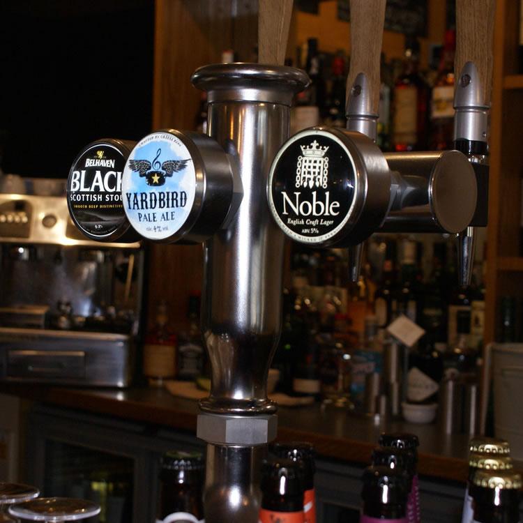 Bar beer taps - YARDBIRD pale ale, Noble Lager, Black Stout