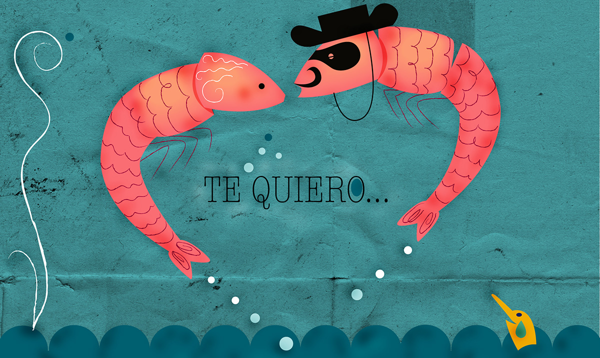 Quirk valentine's card of two spanish prawns kissing and saying 'Te Quiero'