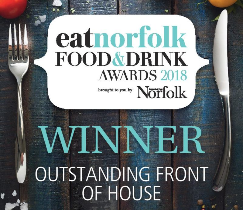 eatnorfolk Food & Drinks awards 2018 WINNER Outstanding Front of House